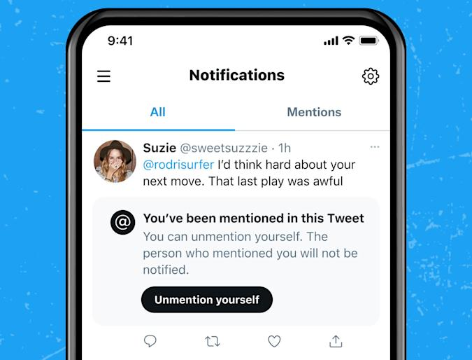 """Twitter is considering an """"unmention yourself"""" feature."""