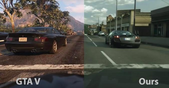 Grand Theft Auto V realism mod side-by-side comparison.
