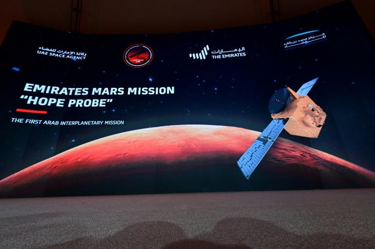 """Hope"" -- or Al-Amal in Arabic -- has been a source of great pride in the UAE, a newcomer to the world of space (AFP Photo/Giuseppe CACACE)"