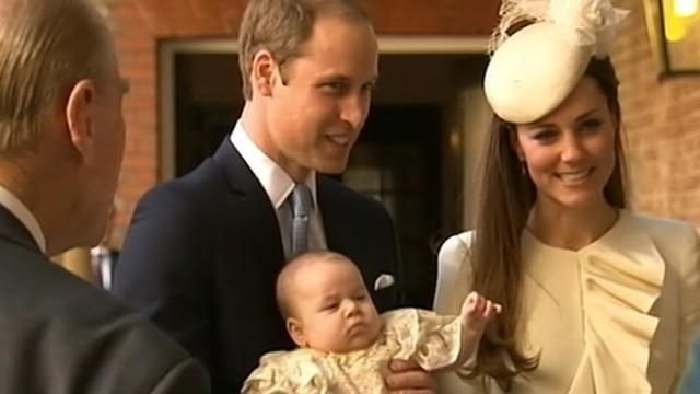 Prince George Enters Church for Christening