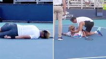 'Tough to watch': Teen tennis star in frightening mid-point collapse