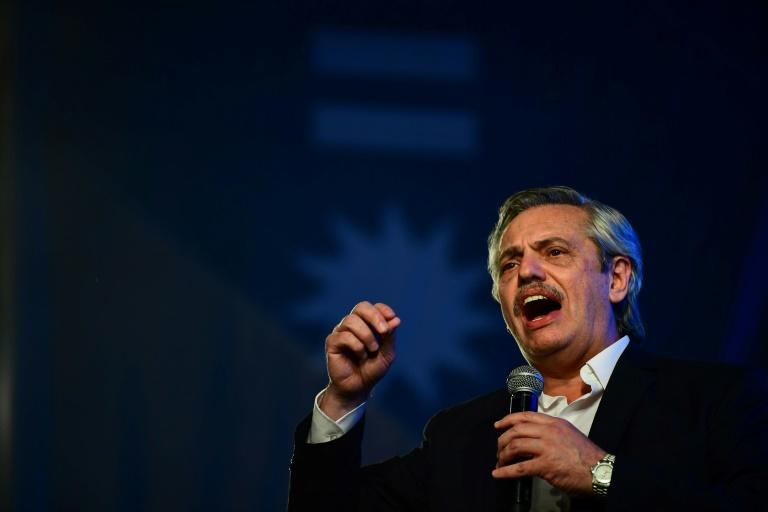 Fernandez addresses supporters at a victory rally in Buenos Aires (AFP Photo/RONALDO SCHEMIDT)