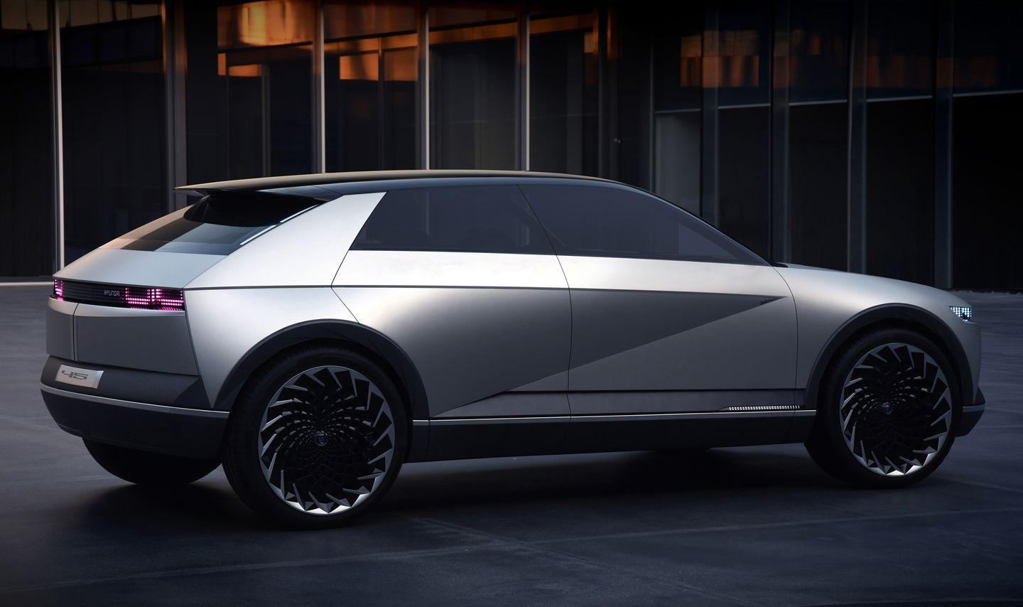 "<p>In homage to Giugiaro's original Hyundai Pony, the Hyundai 45 concept could see production in low volume, as an electric.</p><p><a class=""link rapid-noclick-resp"" href=""https://www.caranddriver.com/news/a28943381/hyundai-45-concept-electric-future-design/"" rel=""nofollow noopener"" target=""_blank"" data-ylk=""slk:More on Hyundai 45 Concept"">More on Hyundai 45 Concept</a></p>"