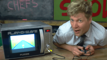 Bonkers inventor Colin Furze turns a microwave into a video game console