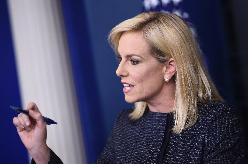 Defending President Donald Trump's tough immigration policies: US Secretary of Homeland Security Kirstjen Nielsen (AFP Photo/Brendan SMIALOWSKI)