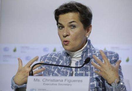Christiana Figueres, Executive Secretary of the UN Framework Convention on Climate Change, attends a news conference during the World Climate Change Conference 2015 (COP21) at Le Bourget