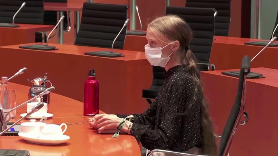 Thunberg urges Merkel to take action on climate change Video