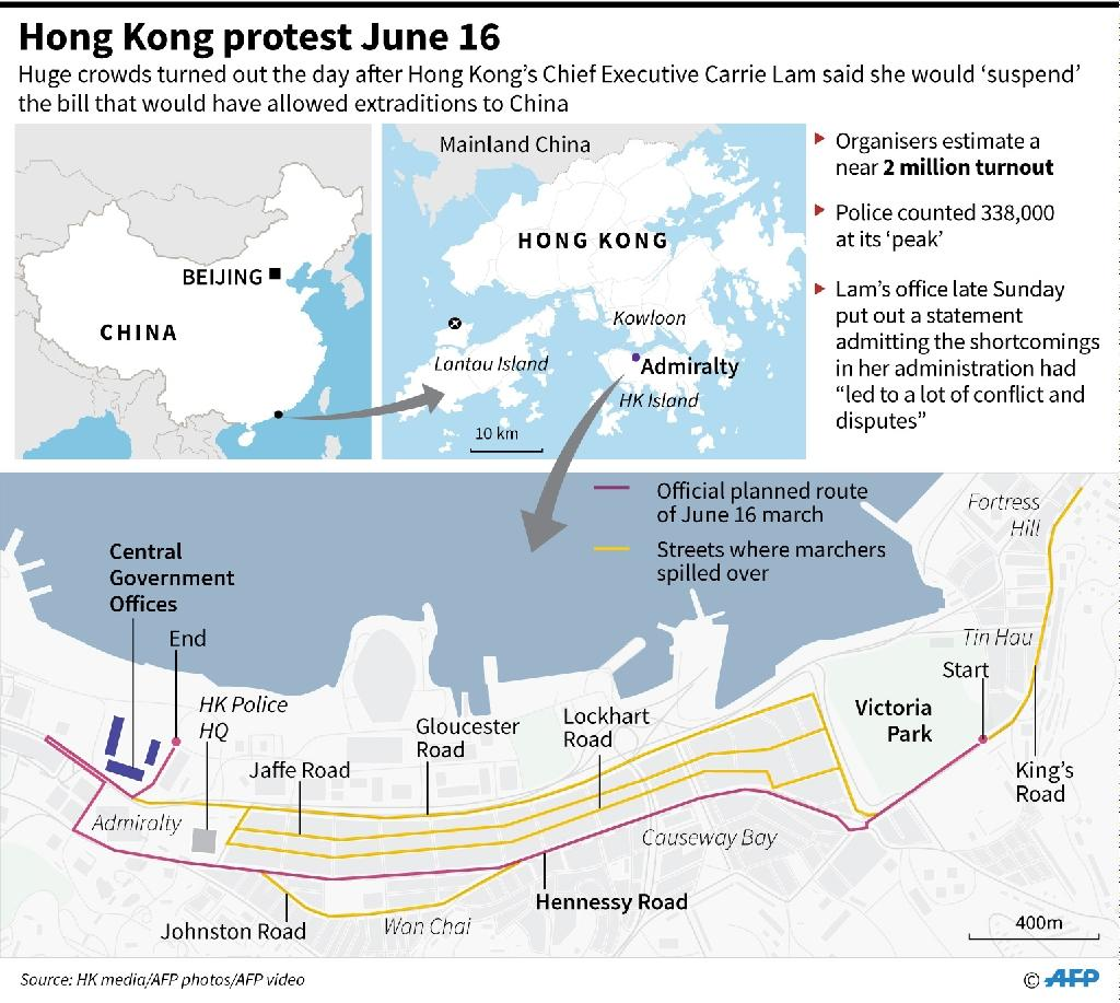 Map showing the main protest site in Hong Kong on June 16. (AFP Photo/)