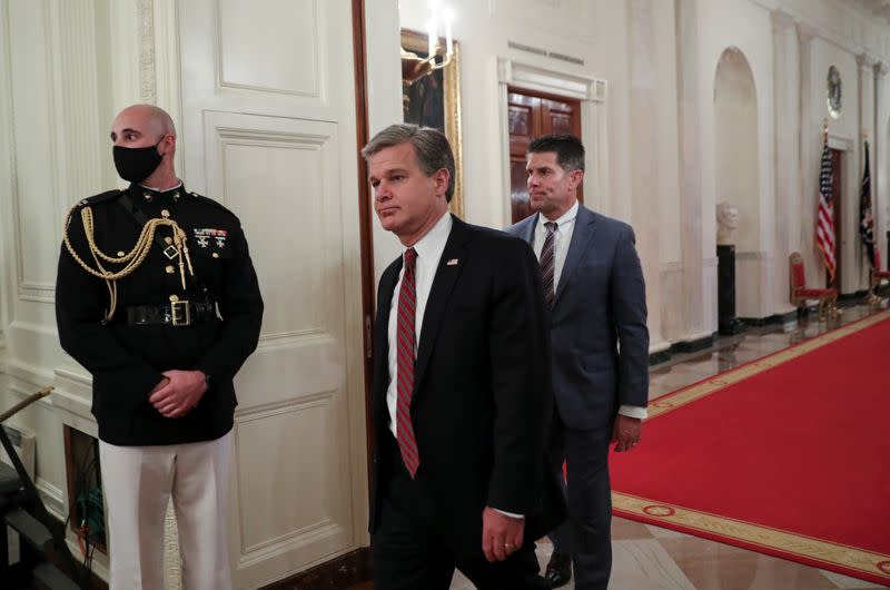 FBI Director Wray attends Trump law enforcement event at the White House in Washington