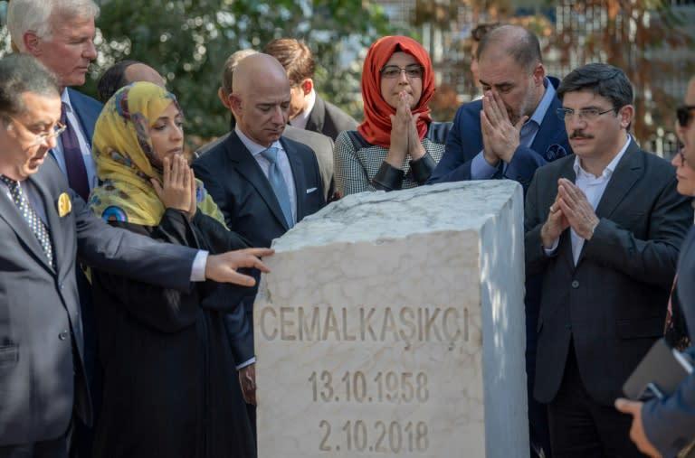 Khashoggi's fiancee Hatice Cengiz (centre) was joined by Bezos and Yemeni Nobel Prize winner Tawakkol Karman (to her left) for the ceremony (AFP Photo/BULENT KILIC)