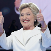 Hillary Clinton formally accepts Democratic nomination for president and trains her fire on Donald Trump