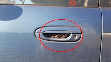 Woman's terrifying find in car door handle after grocery shop