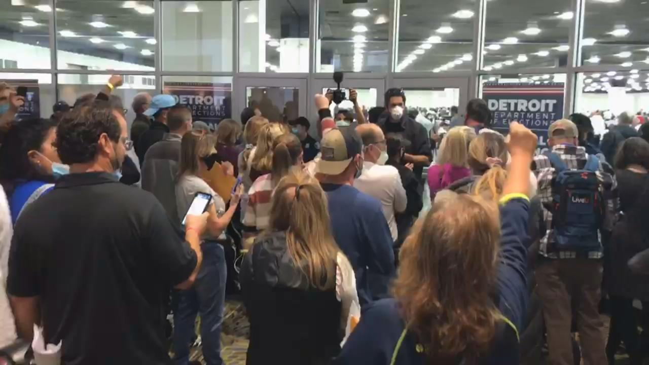 Trump supporters descend on vote-tallying center
