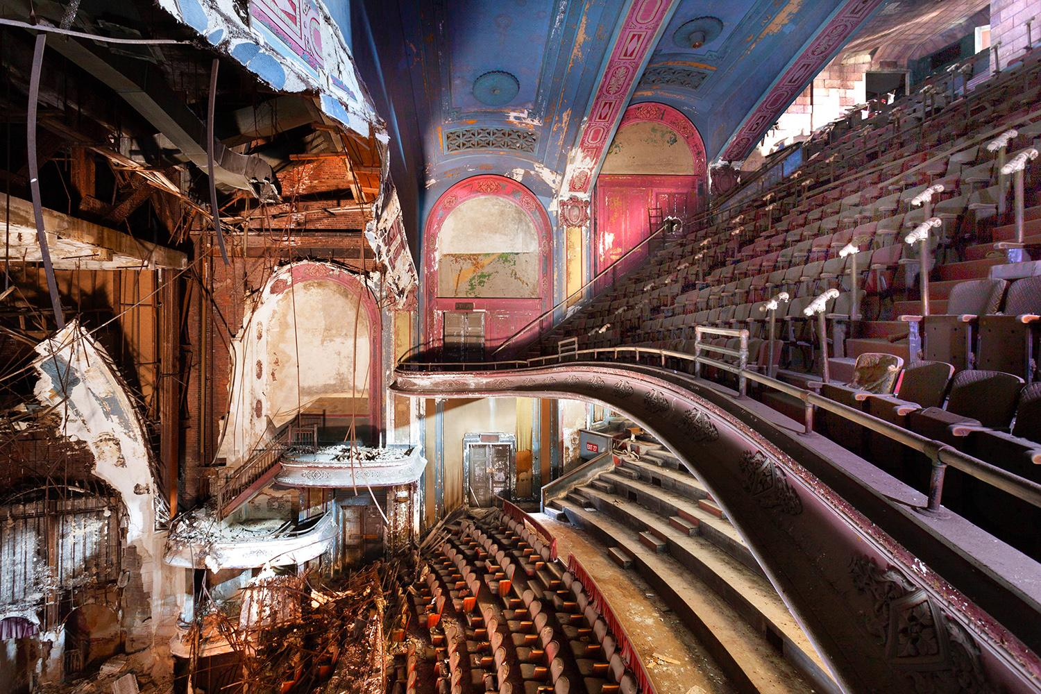 <p>A photographer with a passion for decaying buildings has captured a hauntingly beautiful series of images of theaters across the U.S. crumbling after the final curtain has fallen. (Photo: Matt Lambros/Caters News) </p>