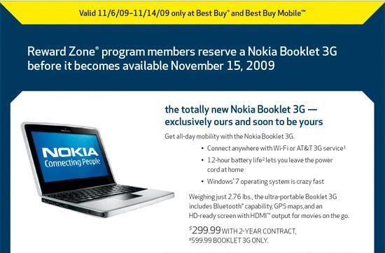 Best Buy stocking Nokia's Booklet 3G on November 15th