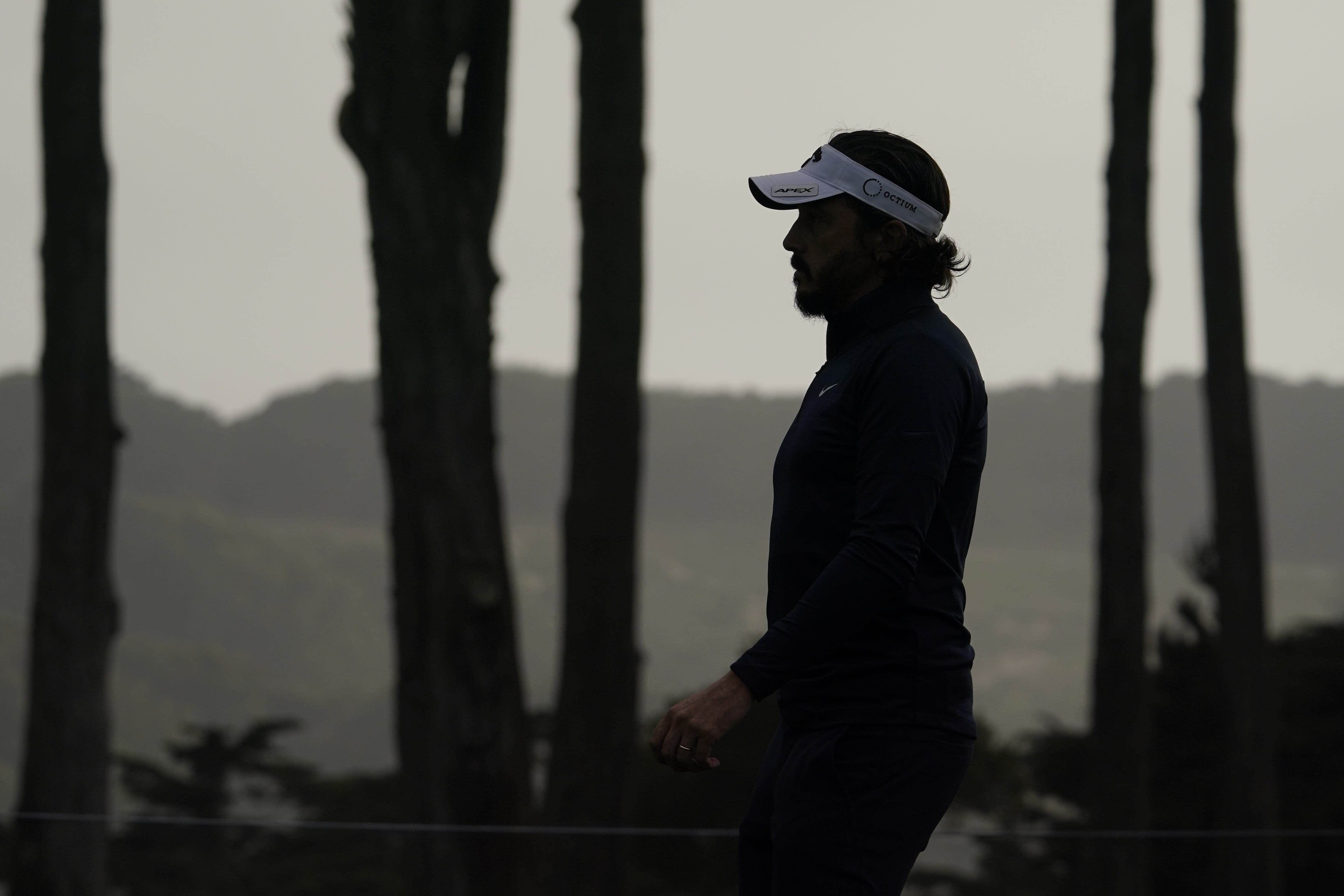 Mike Lorenzo-Vera, of France, walks on the seventh hole during the second round of the PGA Championship golf tournament at TPC Harding Park Friday, Aug. 7, 2020, in San Francisco. (AP Photo/Charlie Riedel)