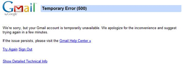 Gmail down for many, Hotmail users feel free to gloat (update: back for some!)