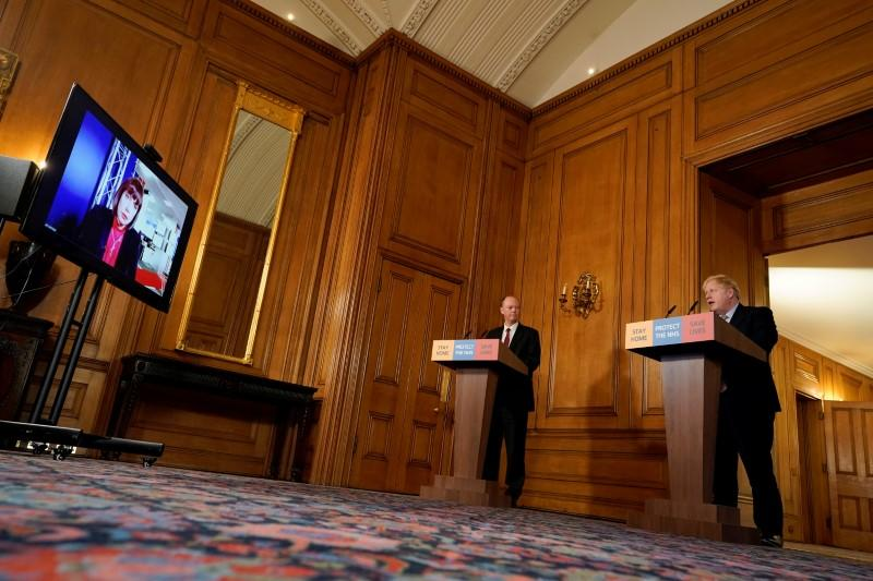Britain's Prime Minister Boris Johnson speaks during his first remote news conference on the coronavirus disease (COVID-19) outbreak, at Downing Street in London