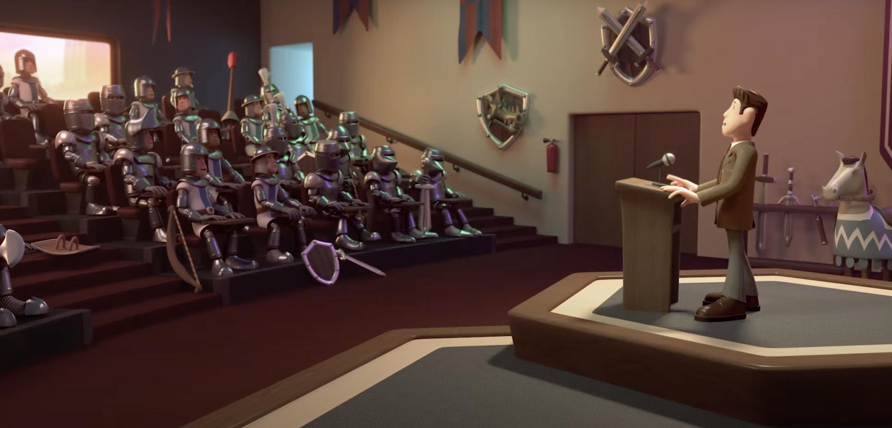 Lecture hall full of knights