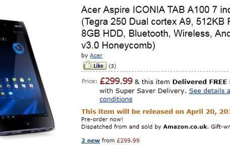 Acer's 7-inch Iconia Tab A100 priced at £300 in UK, launching April 20th