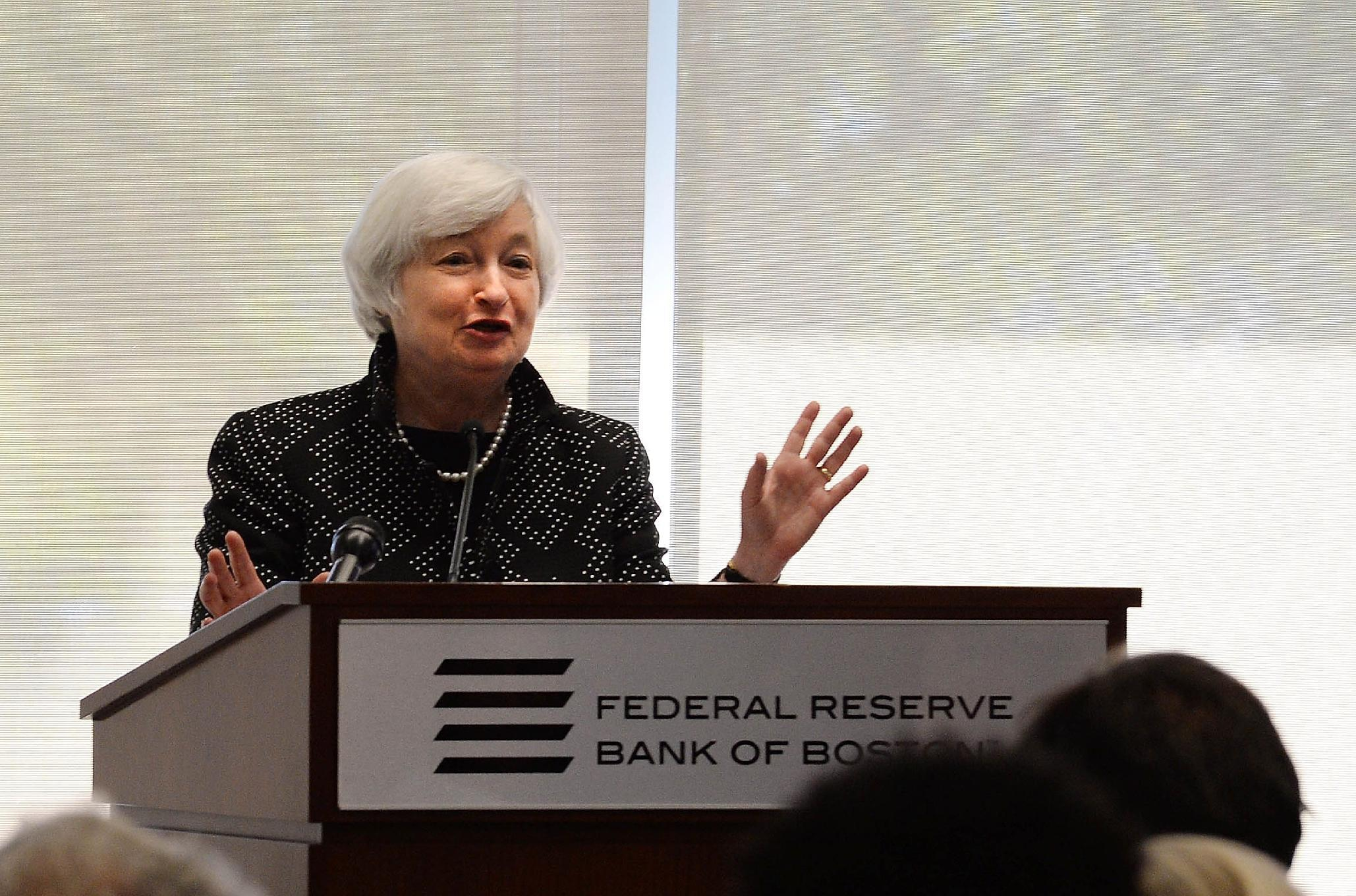 Federal Reserve Chair JanetYellen speaks at the Federal Reserve Bank of Boston on October 17, 2014 in Boston, Massachusetts (AFP Photo/Darren Mccollester)
