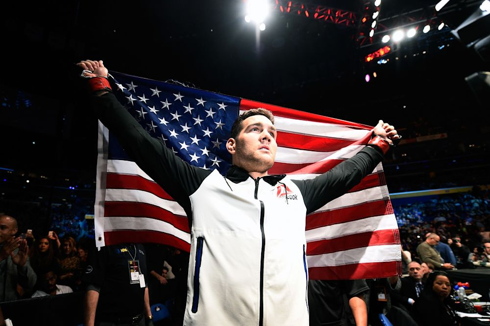 Chris Weidman prepares to enter the Octagon prior to facing Gegard Mousasi of the Netherlands in their middleweight bout during the UFC 210 event at the KeyBank Center on April 8, 2017 in Buffalo, New York. (