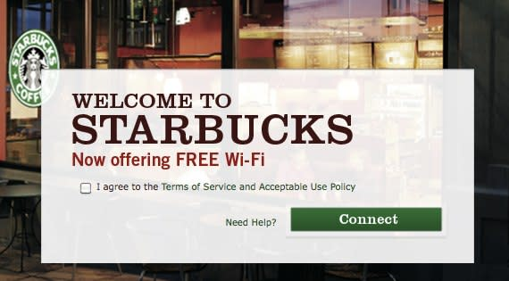 Starbucks begins offering free two-click WiFi access in US and Canada