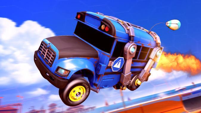 Fortnite's Battle Bus in Rocket League
