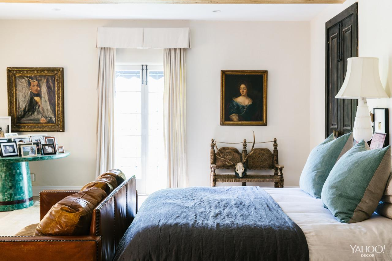 P Stanley S Master Bedroom Features An Italian Oil Painting And A Jade Table Belonging Inside The Vibrant Whimsical LA Home Of Justin Timberlake Stylist