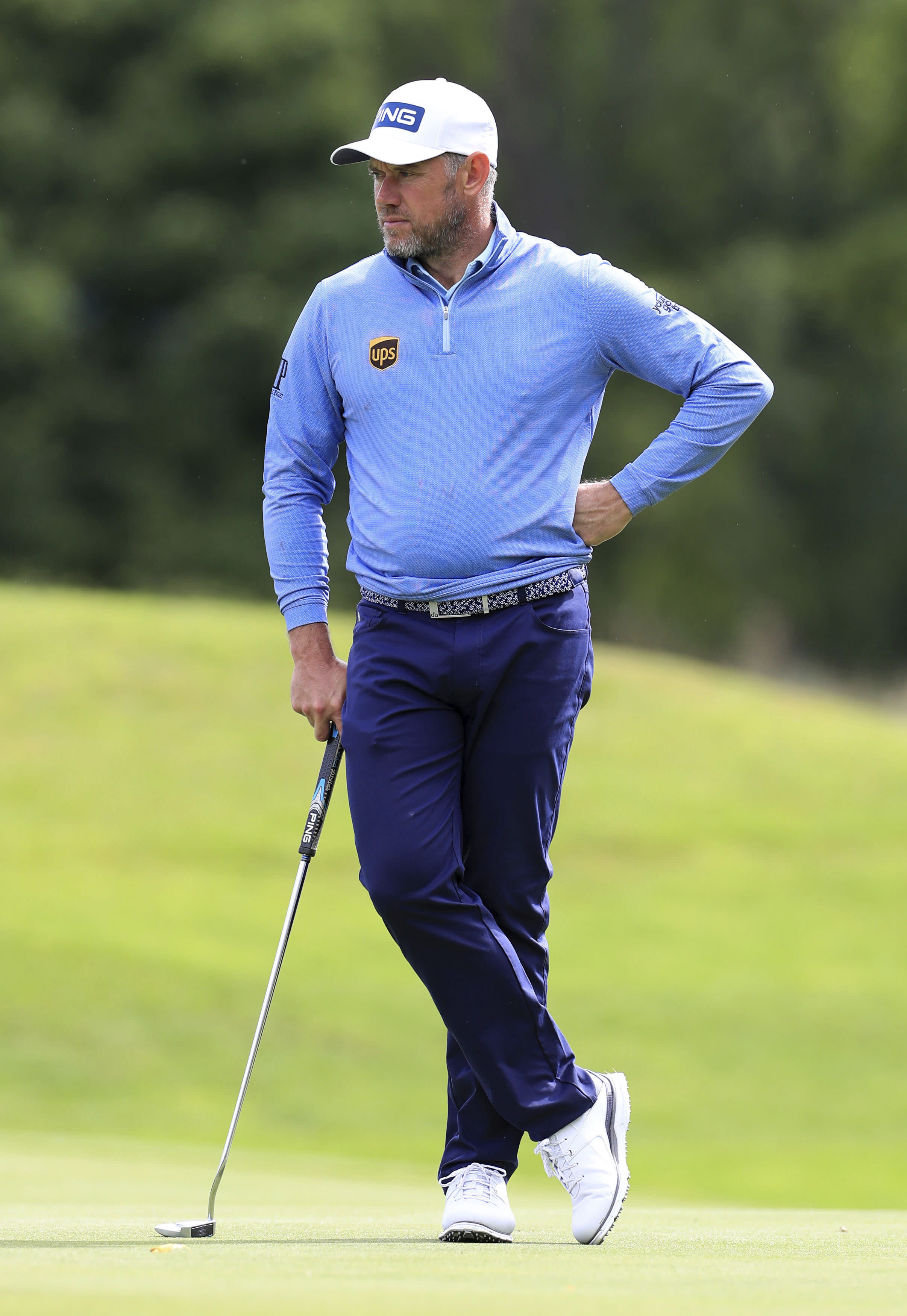 England's Lee Westwood during day four of the British Masters golf tournament at Close House Golf Club, Newcastle, England, Saturday July 25, 2020. (Mike Egerton/PA via AP)