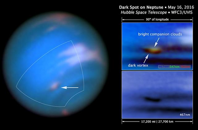 Hubble discovers a new 'dark vortex' on Neptune