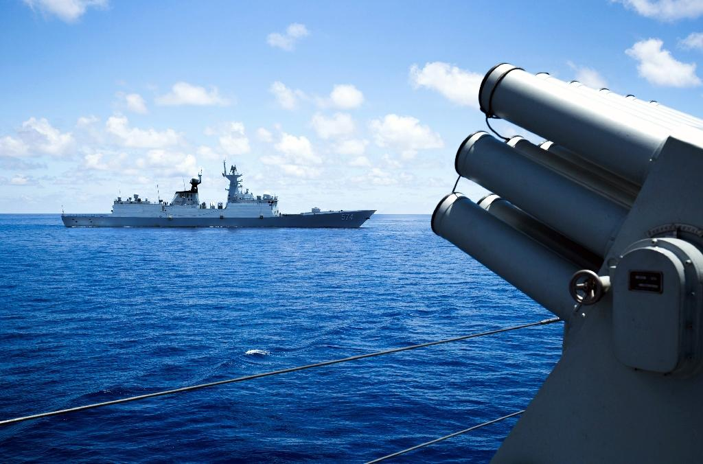 China's South Sea Fleet takes part in a logistics supply drill near the James Shoal area on South China Sea in May