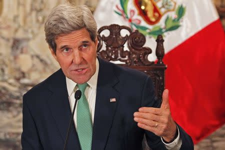 U.S. Secretary of State John Kerry speaks during a meeting with Peru's President Ollanta Humala at the Government Palace in Lima