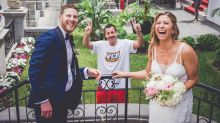 Bride and groom photobombed by Adam Sandler