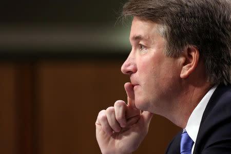 FILE PHOTO: U.S. Supreme Court nominee judge Brett Kavanaugh testifies on Capitol Hill in Washington