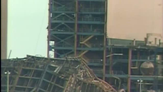 Building collapses at power plant, trapping one