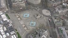 Aerial pictures show an almost deserted central London