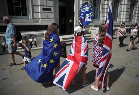 FILE PHOTO: Anti-Brexit protesters demonstrate in Westminster, London