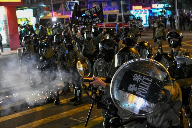 Sunday's rally marked a resumption of the increasingly violent confrontation between protesters and Hong Kong police (AFP Photo/Philip FONG)