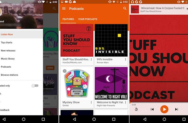 Podcasts are showing up in Google Play Music for some users