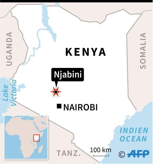 Map of Kenya locating the site of a plane crash on June 5 near Njabini that killed all 10 people aboard (AFP Photo/AFP )