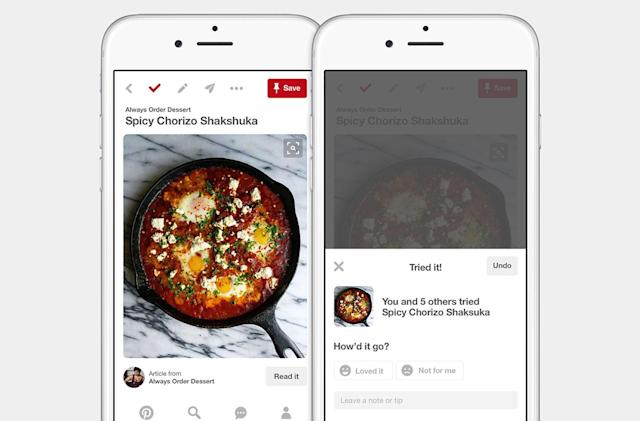Pinterest helps you keep tracks of things you've tried