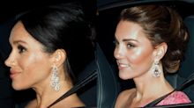 Kate and Meghan work seriously statement earrings at Prince Charles' 70th birthday party