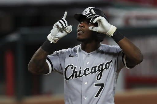 Chicago White Sox's Tim Anderson reacts after hitting a solo home run in the eighth inning during a baseball game against the Cincinnati Reds in Cincinnati, Saturday, Sept. 19, 2020. (AP Photo/Aaron Doster)