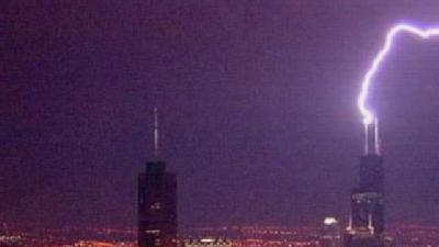 Former Sears Tower Takes Direct Hit