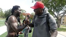 Antonio Brown works out with Redskins QB Dwayne Haskins