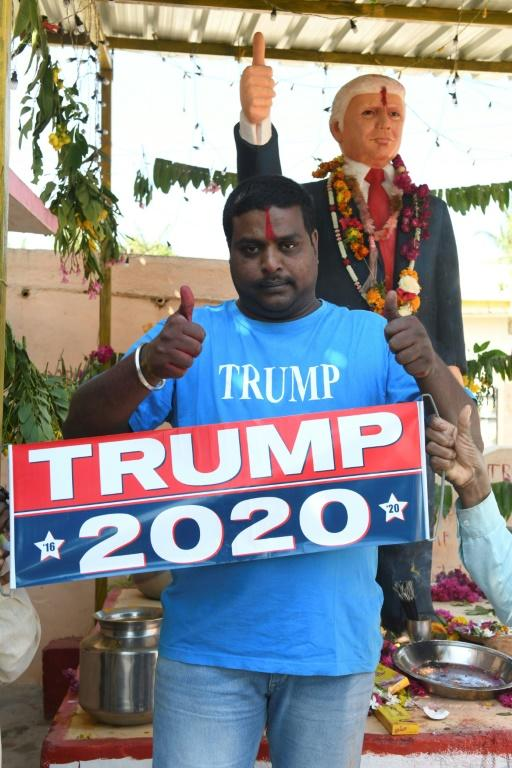 Trump has built up a fan base in India among some Hindu nationalists drawn to his hardline rhetoric towards Muslims (AFP Photo/NOAH SEELAM)