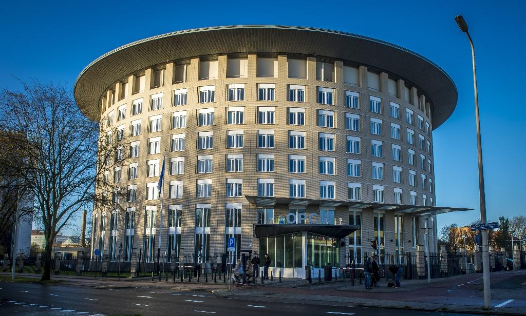 The Organisation for the Prohibition of Chemical Weapons (OPCW) building in The Hague -- where four alleged members of Russia's GRU military intelligence agency were accused of spying in a nearby car park