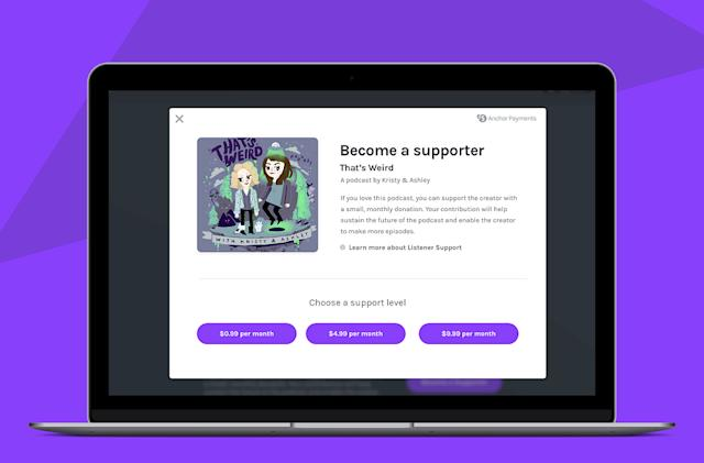 Anchor's donation option lets podcast fans support their favorite shows