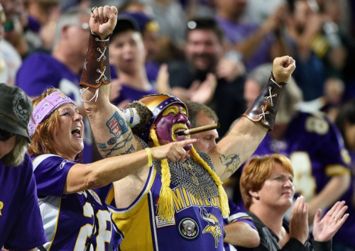 Fans of the Vikings, in happier times.